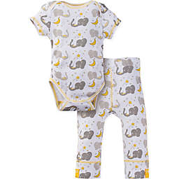 MiracleWear® 2-Piece Posheez Snap 'n Grow Elephant Short Sleeve Bodysuit Set in Grey