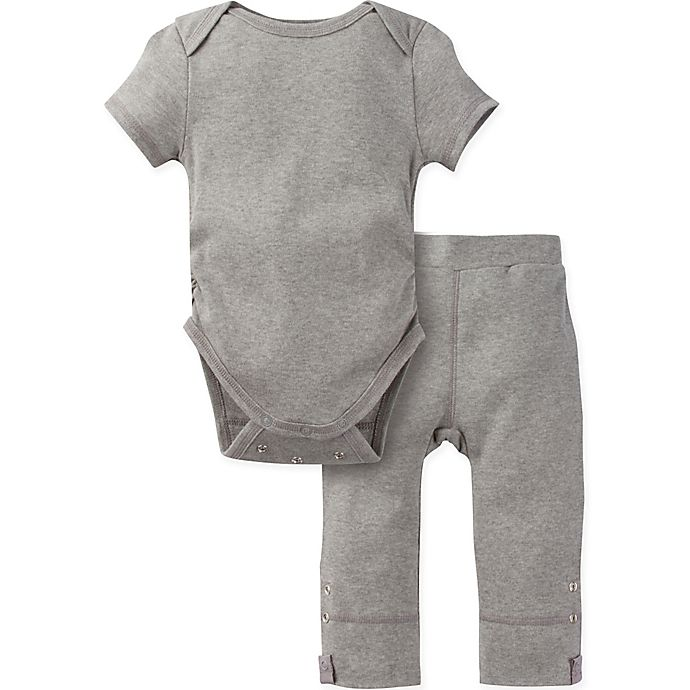 Alternate image 1 for Miraclewear Size 6-12M 2-Piece Posheez Snap'n Grow Bodysuit and Pant Set in Grey