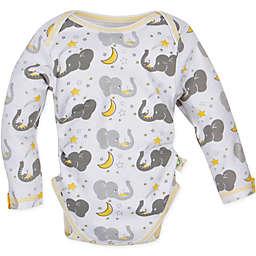 MiracleWear® Posheez Snap 'n Grow Elephant Print Long Sleeve Bodysuit in Grey