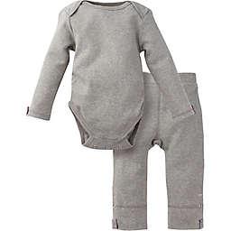 Miraclewear 2-Piece Posheez Snap'n Grow Long-Sleeve Bodysuit and Pant Set in Grey