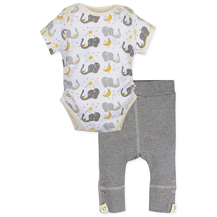 Alternate image 1 for MiracleWear® Size 12-18M 2-Piece Posheez Snap 'n Grow Elephant Bodysuit and Pant Set in Grey