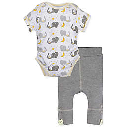 MiracleWear® 2-Piece Posheez Snap 'n Grow Elephant Bodysuit and Pant Set in Grey