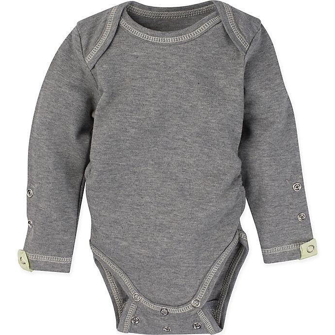 Alternate image 1 for Miraclewear Size 12M Posheez Snap'n Grow Long-Sleeve Bodysuit in Grey