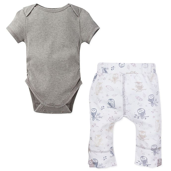 Alternate image 1 for MiracleWear® 2-Piece Posheez Snap 'n Grow Bodysuit and Owl Pant Set in Grey