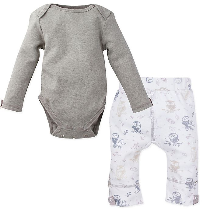 Alternate image 1 for MiracleWear® 2-Piece Snap 'n Grow Long Sleeve Bodysuit and Owl Pant Set in Grey