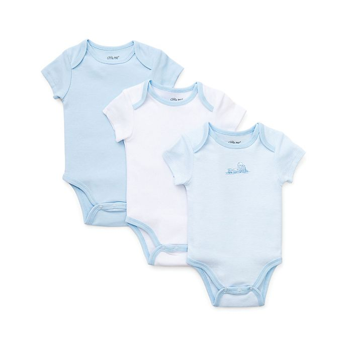 Alternate image 1 for Little Me® 3-Piece Train Bodysuits in Blue