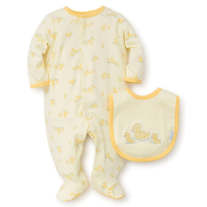 Alternate image 1 for Little Me® 2-Piece Ducks Footie and Bib Set in Yellow
