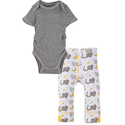 Miraclewear 2-Piece Elephant Snap'n Grow Bodysuit and Pant Set in Grey/Yellow