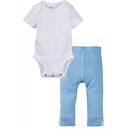 Miraclewear 2-Piece Posheez Snap'n Grow Bodysuit and Pant Set in White/Blue