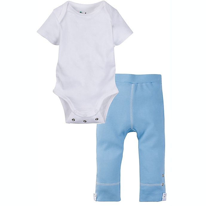 Alternate image 1 for Miraclewear 2-Piece Posheez Snap'n Grow Bodysuit and Pant Set in White/Blue