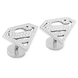 DC Comics Stainless Steel White Pave Crystal Superman Cufflinks