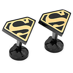 DC Comics Black- and Gold-Plated Stainless Steel Superman Shield Cufflinks