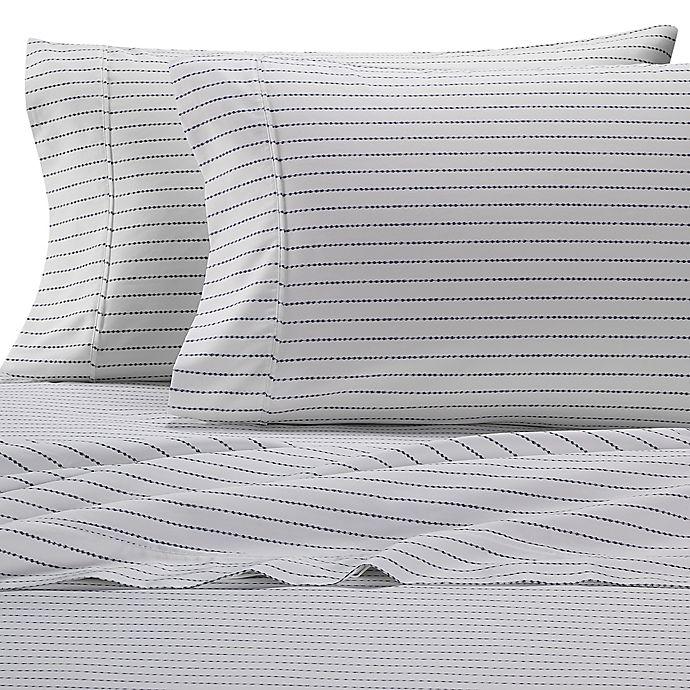 Alternate image 1 for Heartland® HomeGrown™ Stripe 400-Thread-Count Sateen Full Sheet Set in Navy
