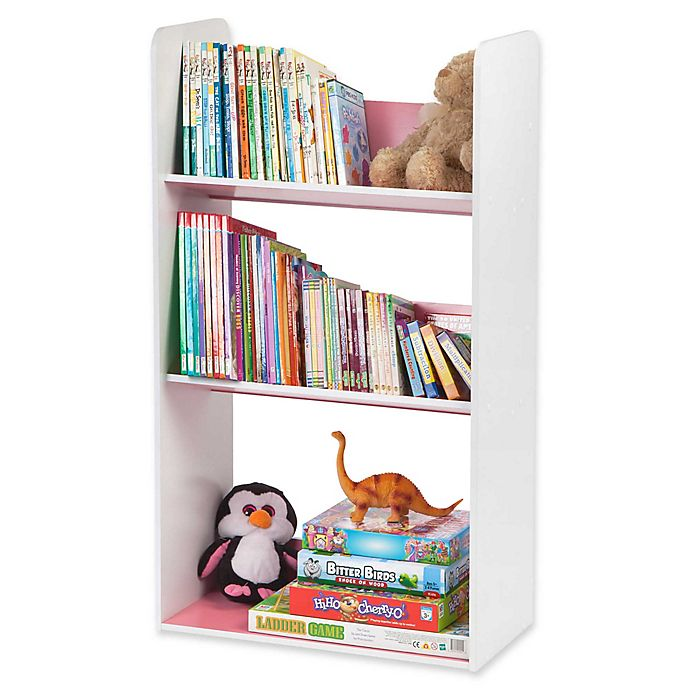 Alternate image 1 for IRIS® Children's Angled Bookcase in White and Pink