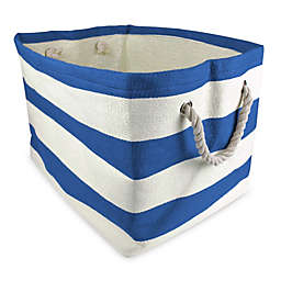 Design Imports Large Striped Woven Paper Bin