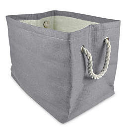 Design Imports Large Woven Paper Bin in Grey