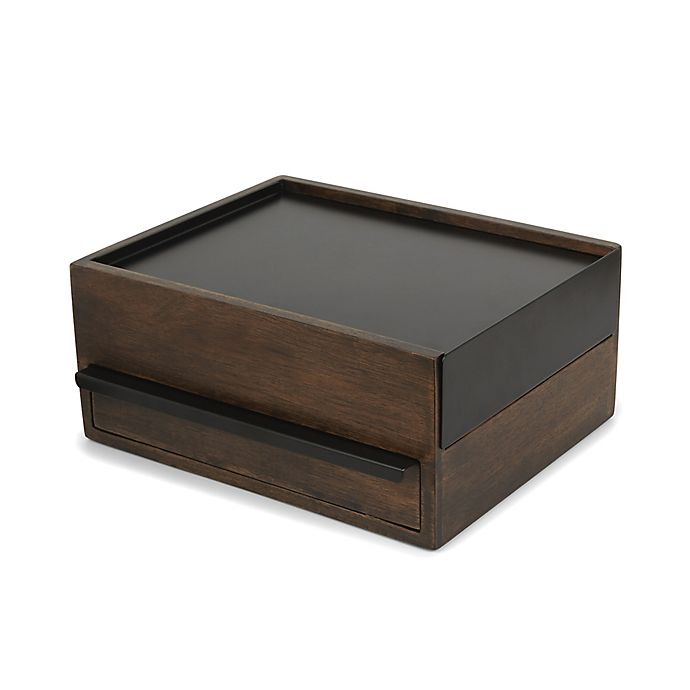 Alternate image 1 for Umbra® Stowit Wooden Jewelry Storage Box in Walnut/Black