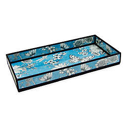 nu steel Floral Print Decorative Glass Vanity Tray in Blue