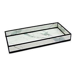 Marble Print Decorative Glass Vanity Tray