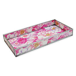 Floral Print Decorative Glass Vanity Tray in Pink