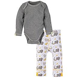 Miraclewear 2-Piece Elephant Snap'n Grow Long-Sleeve Bodysuit and Pant Set in Grey