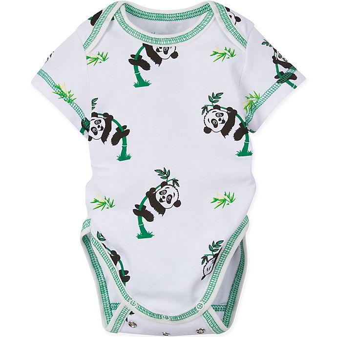 Alternate image 1 for MiracleWear Size 12M Panda Bodysuit in Green/White