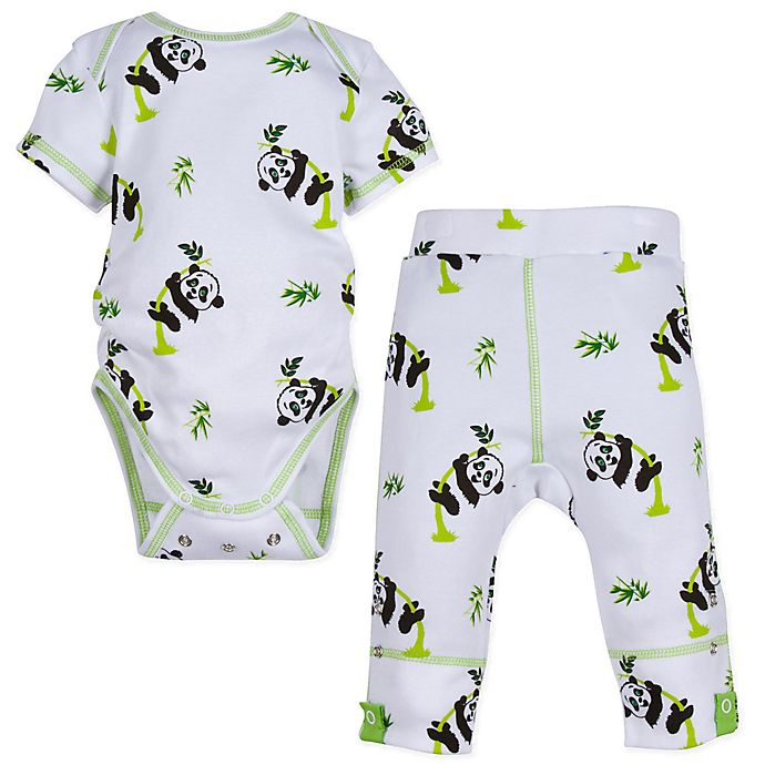 Alternate image 1 for MiracleWear® 2-Piece Snap 'n Grow Panda Short Sleeve Bodysuit and Pant Set