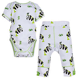 MiracleWear® Size 0-6M 2-Piece Snap 'n Grow Panda Short Sleeve Bodysuit and Pant Set