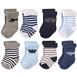 Hudson Baby® 8-Pack Aviator Terry Rolled Cuff Socks