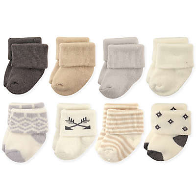 Hudson Baby® 8-Pack Aztec Terry Rolled Cuff Socks in Cream/Grey