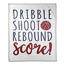 "Designs Direct ""Dribble, Shoot, Rebound, Score"" Fleece Basketball Blanket"