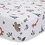 Little Unicorn Forest Friends Cotton Muslin Fitted Sheet in Brown/Orange