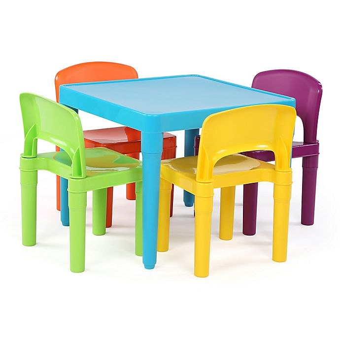 Alternate image 1 for Tot Tutors Playtime 4-Piece Plastic Table & Chairs Set in Aqua
