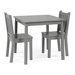 Tot Tutors Curious Lion 3-Piece Square Table & Chairs Set in Grey