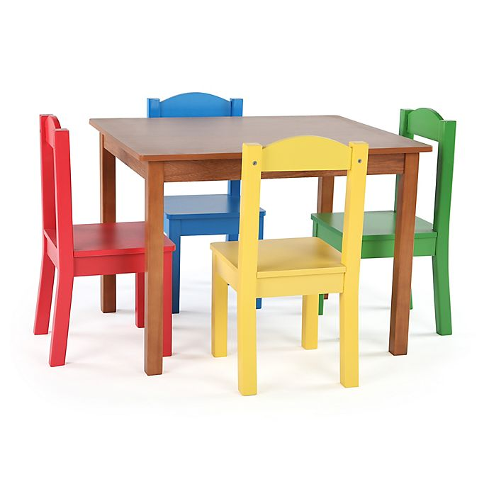 Alternate image 1 for Tot Tutors 5-Piece  Wooden Table and Chairs Set in Pine