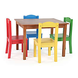 Tot Tutors 5-Piece  Wooden Table and Chairs Set in Pine