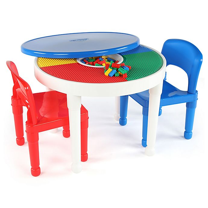 Alternate image 1 for Tot Tutors 2-In-1 LEGO®-Compatible Activity Table and Chairs Set