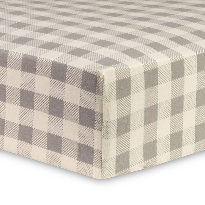 Trend Lab 174 Buffalo Check Flannel Fitted Crib Sheet In Grey