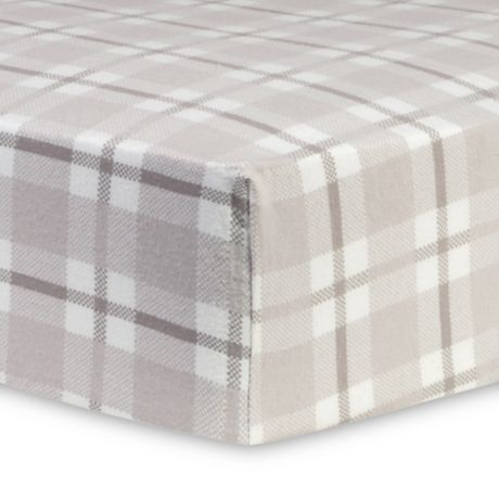 Trend Lab 174 Plaid Flannel Fitted Crib Sheet In Grey Bed