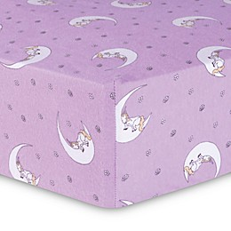 Trend Lab® Unicorn Moon Flannel Fitted Crib Sheet in Purple