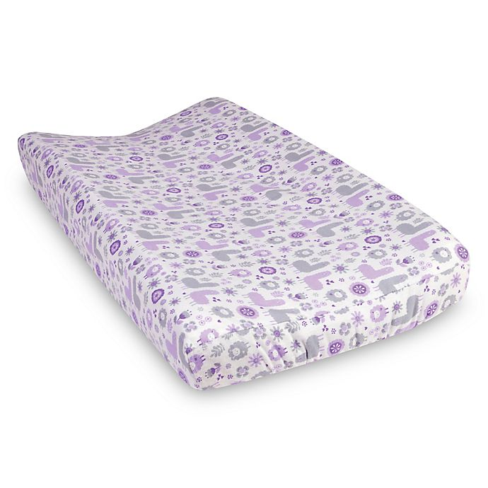 Alternate image 1 for Trend Lab® Llama Friends Flannel Changing Pad Cover in Purple