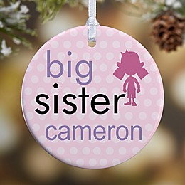 1-Sided Big Baby Brother & Sister Photo Christmas Ornament