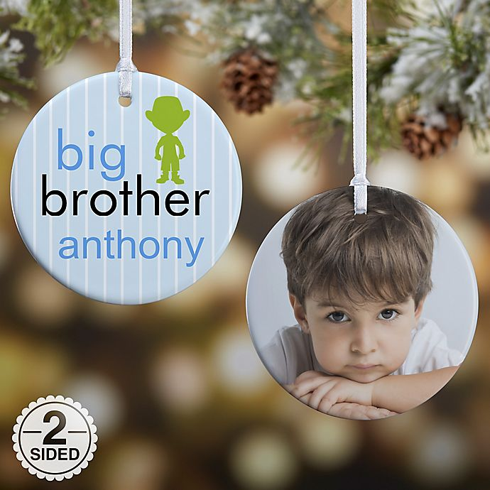 Alternate image 1 for 2-Sided Big Baby Brother & Sister Photo Christmas Ornament