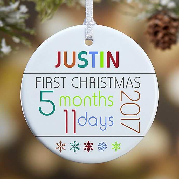 Alternate image 1 for 1-Sided Baby's First Christmas Age Glossy Christmas Ornament