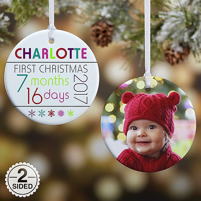 Alternate image 1 for 2-Sided Baby's First Christmas Age Glossy Christmas Ornament