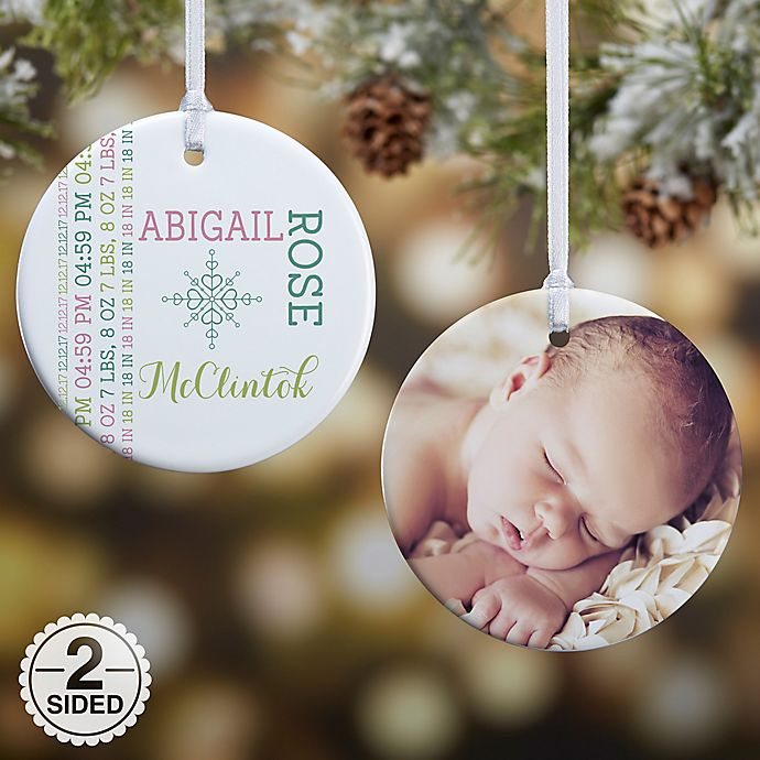 Alternate image 1 for 2-Sided Darling Baby Glossy Photo Christmas Ornament