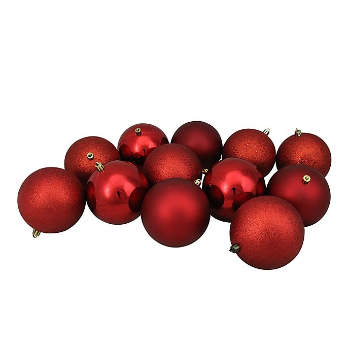 Alternate image 1 for Northlight 12-Pack 4-Inch Shiny Christmas Ball Ornaments