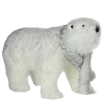 Northlight 28-Inch Bear with Scarf Christmas Decoration in White
