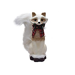 Northlight 13.5-Inch Fox Christmas Decoration in White with Plaid Bow