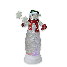LED Lighted Snowman with Snowflake Bouquet Figurine